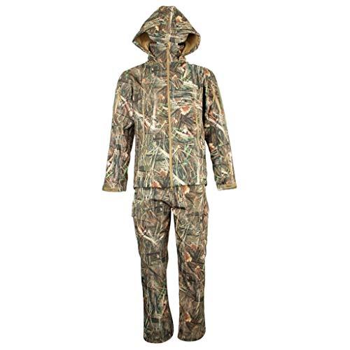 Almencla Roupas de Caça Camufladas Outono Inverno Tático Jaqueta com Capuz E Calça Terno - XL
