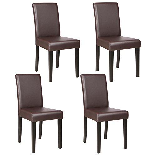 Mecor Upholstered Dining Chairs Set of 4, Kitchen PU Leather Padded Chair w/Solid Wood Frame Dining Room Furniture, Brown