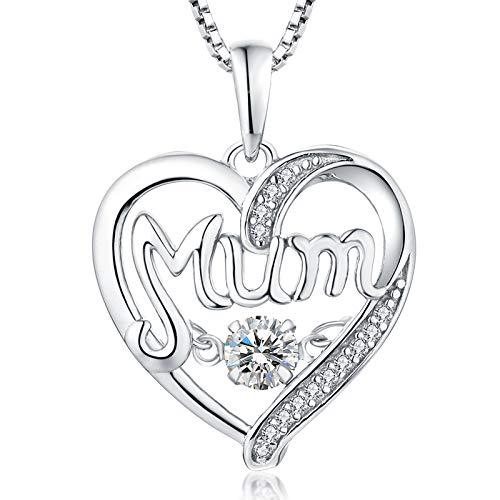 YL Collar de mamá Latido del corazón de plata de ley 925 Collar con colgante de corazón de moissanita blanco con piedra natal de abril para mujer y madre, 45-48 cm