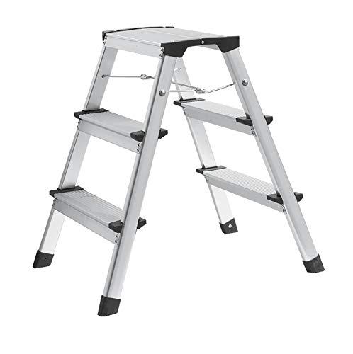 Ribelli Aluminum-Leiter Trittleiter Alu Klapptritt mit Spreizsicherung und 3 Stufen bis 150 kg belastbar TÜV Rheinland geprüft - Leiter aufgestellt ca. 44 x 61 x 60,5 cm