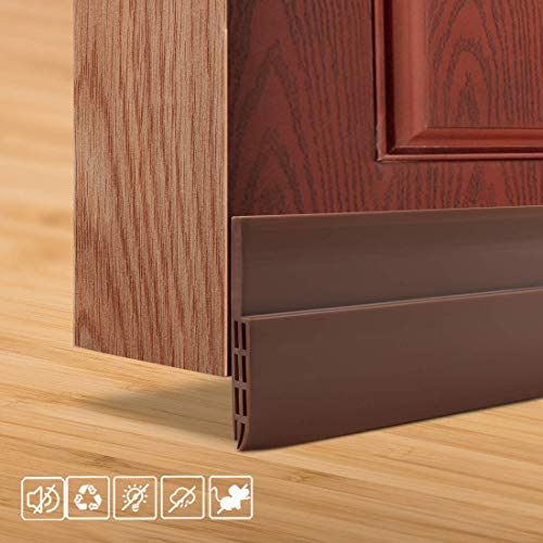 HULAMEDA Door Draft Excluder Strip, Self Adhesive Draft Excluder Tape for Noise Proof and Energy Saving, Door Bottom Seal Strip to Prevent Bugs Coming (Brown/2' Width x 39' Length)