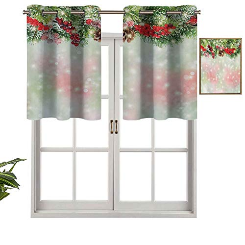 Hiiiman Grommet Top Curtain Panels Valances Evergreen Fir Branches with Red Ripe Holly Berries Blurred Backdrop Garland, Set of 2, 42'x36' Thermal Insulated for Living Room