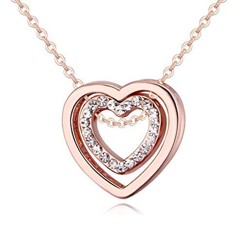 SZXCX Collar con Colgante de Doble corazón de Cristal Siempre estás en mi corazón Collar Doble Hueco para Mujer - Oro Rosa