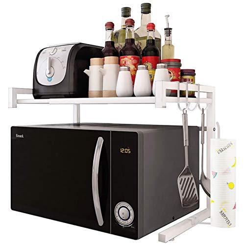 JOOCII レンジ台 幅伸縮式(幅40-60cm) 電子レンジ上ラック 2段式 キッチン 収納 棚 トースター ラック 白色