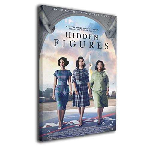 MEW Anime Stretched and Framed Pictures on Canvas Hidden Figures Poster 16'x20' Wall Hanging Decor for Living Room with Frame