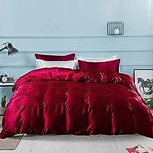 AShanlan Ropa de cama de 200 x 200 cm, color burdeos, satinado, funda nórdica 100% lisa, cómoda de poliéster con cremallera, 1 funda nórdica de 200 x 200 cm y 2 fundas de almohada de 80 x 80 cm