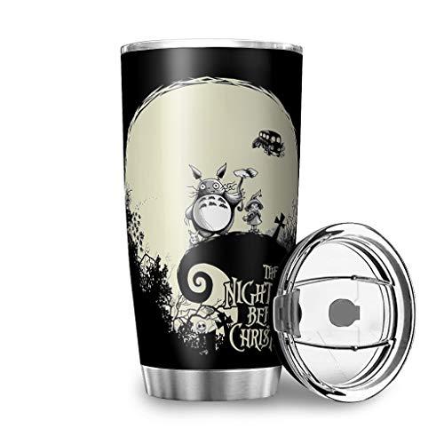 Niersensea Edelstahl Tassen Totoro Besuchen Sie Jack Becher Doppelwandige Isolierter Reisebecher Travel Mug mit Spritzfestem Deckel Auslaufsicher Kaffeebecher Autobecher White 600ml