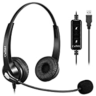CRYSTAL CLEAR CALLS: Business-grade Wideband USB Headset, Digital Signal Processing (DSP) and Noise-Cancelling Mic for crystal-clear conversations, Acoustic Shock Protection(ASP) to protect your hearing. MOST COMFORT HEADSET: Ultra lightweight USB he...