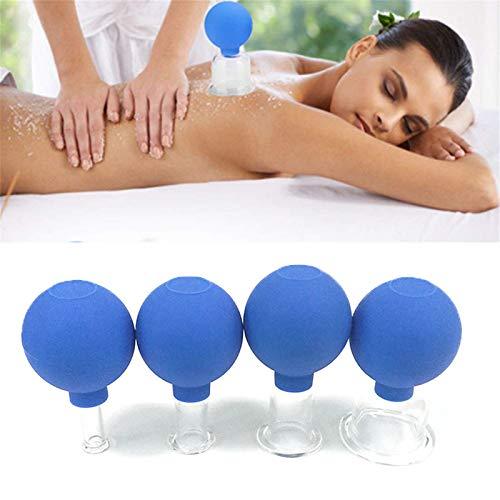 WeiX Ventouses Ventouses Set, Tube Anti-Cellulite Vide Visage et Massage du Corps pour Adulte Accueil Utilisation, Ventouses Tasses Massage (Ensemble de 4)