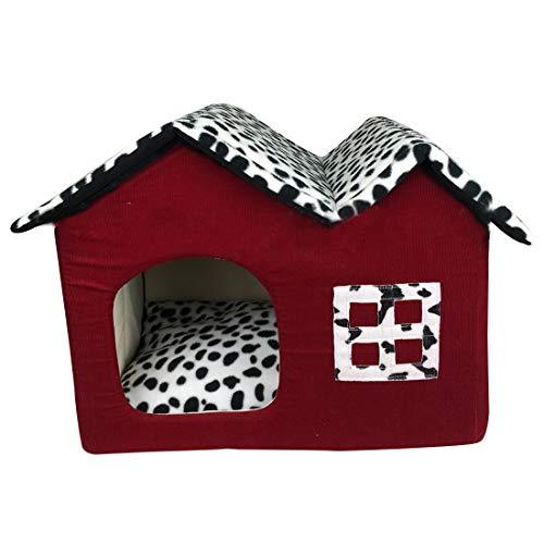 YUENA CARE Casa y Cama para Dormir para Perro Gato - Nido Cueva para Mascota Blando Cómodo Plegable Cálido para Invierno #4