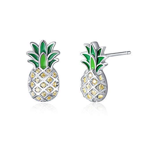 Sterling Silver Pineapple Stud Earrings Jewellery Gift for Women Teens Girls (Pineapple stud earrings)