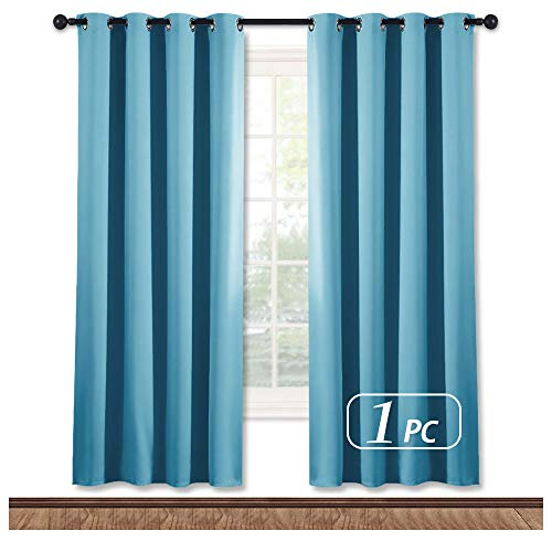 NICETOWN Blackout Curtain Panel for Window - Window Treatment Thermal Insulated Solid Grommet Blackout Drape for Bedroom (Teal Blue, Single Panel, 52 by 72 inches)