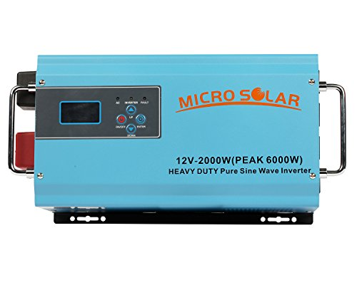 HEAVY DUTY (35 lb) - 12V 2000W (PEAK 6000W) Pure Sine Wave Inverter - MicroSolar - With Battery Charger & Cable - Support Microwave, Air Conditioner etc.