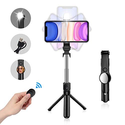 NIERBO Selfie-Stick-Tripod 3 en 1 Selfie Stick Bluetooth para iPhone/Huawei/Samsung Galaxy/Xiaomi/HTC y Otros TeléFonos Inteligentes (con Luz De Relleno, Espejo)