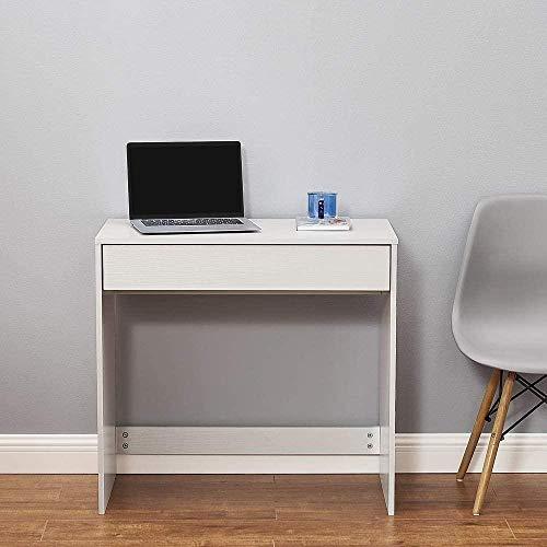 Escritorio de Oficina de Madera Computadora Estación de Trabajo PC Mesa de Escritura para computadora portátil con Dos cajones Oficina en casa Roble y Blanco