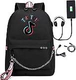 TIK Tok Backpack with USB Headphone Jack TIK Tok Casual Daypack Laptop Backpack Youth Fashion Bag