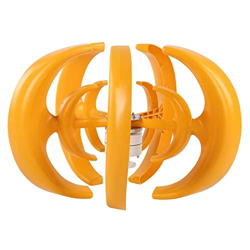 Turbina eolica, Kit de turbina eólica de eje vertical, amarillo, 800 W, 5 hojas, doble capa, tipo linterna, generador de energía eólica para carga de barcos, terrazas, cabañas o casas móviles (12