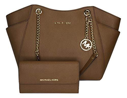 Michael Kors Jet-Set-Reisetasche, große Kette, Schultertasche mit schlanker, für Reisen geeignete Michael Kors Jet-Set-Brieftasche, Braun (Gepäck), Large