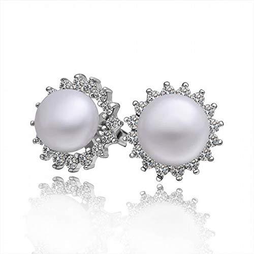 TIANYOU Pendientes de Perlas de Oro Blanco con Diamantes Elegantes Pendientes de Damas/Acero Inoxidable/Hipoalergénicos/Brillo Plateado/Diamante/Peque?os Pendientes Exquis
