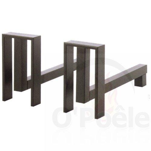 DixNeuf Duo di chenets Design in acciaio Alter Grigio per caminetto