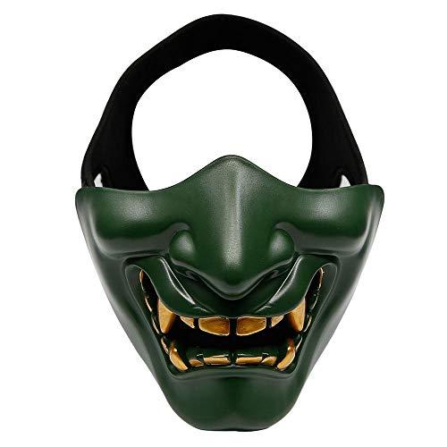 Moligh doll Halloween KostüM Cosplay Zahn Verfall B?Ser D?Mon Kabuki Samurai Halb Maske Party Unheimlich Dekoration, Gruen