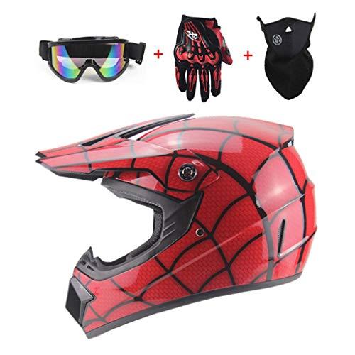 zyy Motocross integraalhelm, ABS, voor strand, race, mountainbike, voor volwassenen, mannen en vrouwen, handschoenen/brillen/maskers, rood