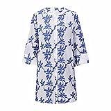 COMFY ONE Kimono bordado de manga larga para mujer, blusa de verano para playa, chaqueta de bikini, azul, 52