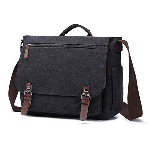 LOSMILE Schoudertassen voor heren Canvas Messenger Bag 15,6-inch laptoptas Schoudertas Crossbody-tas Aktetas voor school en werk. (Zwart)