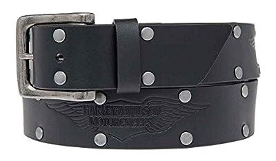Harley-Davidson Men's Speed Bump Belt, Studded Black Leather HDMBT11033-BLK (38)