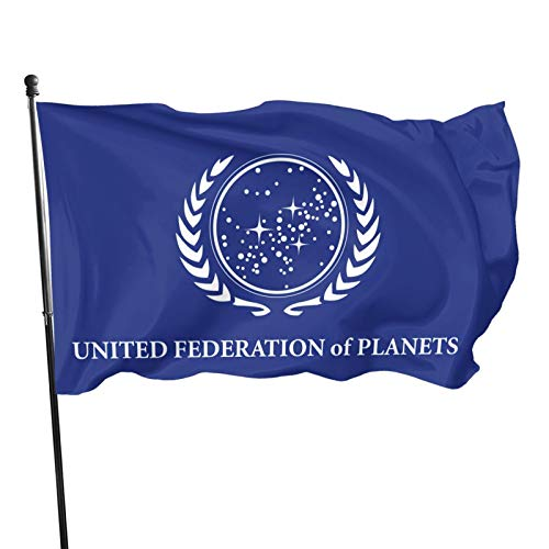 Yasite United Federation of Planets Flag UV Resistance,Cave Wall Flag with Brass Grommets for Dorm Room Decor Outdoor Parties,3 x 5 Ft