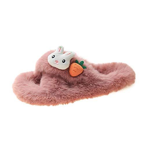 xinghui Leichte Freizeitschuhe mit weichen Sohlen,Damen leichte Hausschuhe,Pelzige Hausschuhe, tragen Sie Flossy Schuhe außerhalb des Hauses, Hauskaninchen Rettich Baumwolle Hausschuhe-Rosa_39