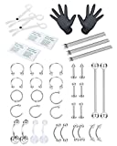 FIBO STEEL 51 Pcs Professional Piercing Kit Stainless Steel Belly Button Rings Tongue Tragus Cartilage helix Daith Rook Nipple Eyebrow Nose Ring Lip Body Jewelry 14G 16G 18G