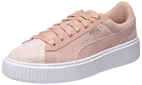 Puma Damen Suede Platform Pebble Sneaker, Beige (Peach Beige White), 36 EU