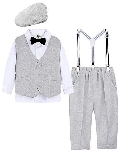 mintgreen Baby Junge Kleidung Anzug Set mit Hut (Hellgrau, 90/1-2 Jahre)