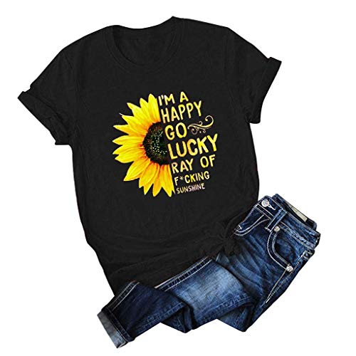 Review Of JOYFEEL Womens Casual T-Shirts Sunflower Print Short Sleeve Crewneck Loose Shirt Blouses P...