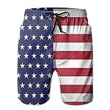 Patriotic USA Bandera Americana Rayas y Estrellas Pantalones Cortos para Tabla de Surf de Verano para Hombres Pantalones de Secado rápido con Bolsillos, XL