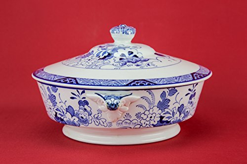 Traditional Vintage TUREEN Floral Ceramic Serving Bold Blue And White Large Unique Service 1930s English LS