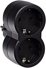 Legrand 50511 Adaptador Enchufe, Doble, Frontal, Negro