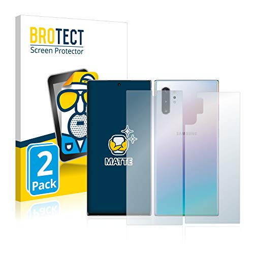 BROTECT Protector Pantalla Anti-Reflejos Compatible con Samsung Galaxy Note 10 Plus (Frontal + Trasera) (2 Unidades) Pelicula Mate Anti-Huellas