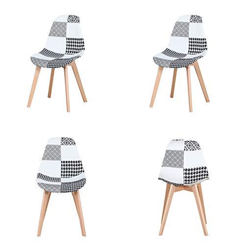WV LeisureMaster - Set di 4 sedie laterali in tessuto con gambe in legno per sala da pranzo e soggiorno