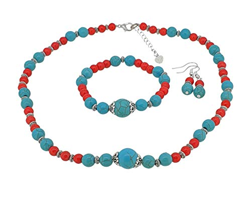 TreasureBay Elegant Red and Blue Turquoise Beaded Necklace, Bracelet and Earrings Jewellery Set, Presented In A Beautiful Jewellery Gift Box
