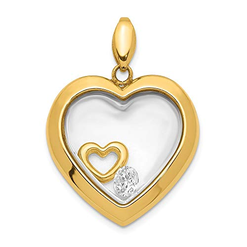 14k Yellow Gold Cubic Zirconia Cz 18mm Heart Glass Pendant Charm Necklace Love Fine Jewellery For Women Gifts For Her