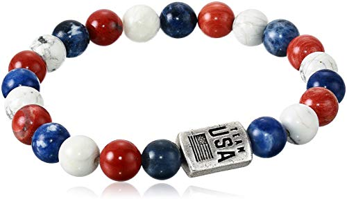 Alex and Ani Collaborations Beaded Stretch Bracelet, Team USA, Red/White/Blue Beads, Rafaelian Silver Finish, Fits Wrists Sizes 6 to 8 in
