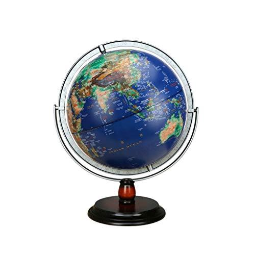 TMY Büro Globus Dreidimensionale konkave und konvex geprägte Globus leuchtende Holzunterseite HD Globe topographische Tischlampe großer Student (Größe : 42cm)