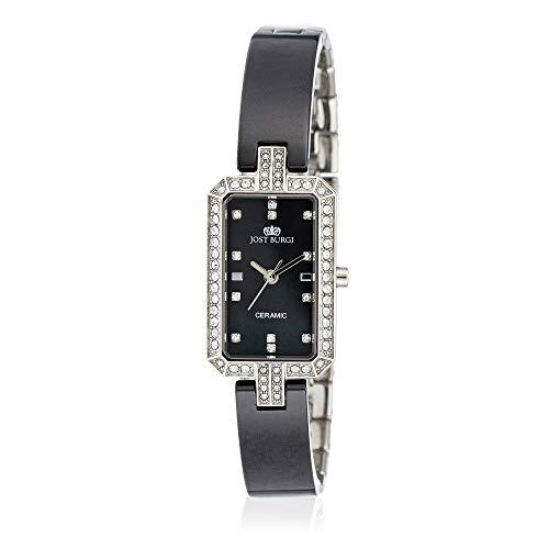 Reloj Jost Burgi para mujer de cuarzo, 17 x 28 mm, esfera negra, correa de cerámica negra – HY4C80C1BV1