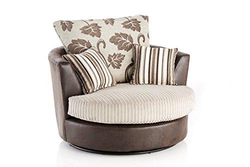 furniturestop.co.uk Lush Jumbo Cord Leather and Fabric Swivel Chair Armchair - Mink
