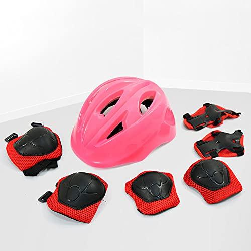 YONIISEA 7 Pezzi di Outdoor Gear Set Casco Scooter Bambine di Sicurezza, Casco Bici Ideale Casco Regolabile Adatto A Bambini dai 3 Ai 15 Anni per Bambini E Adolescenti Caschi Perfetto,Rosa