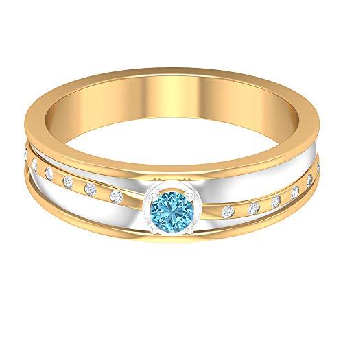 Rosec Jewels 14 quilates oro amarillo redonda round-brilliant-shape H-I Diamond Aguamarina creada en laboratorio