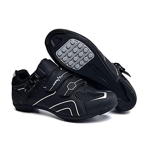 BSTL Zapatillas de Ciclismo Antideslizantes y Transpirables, Calzado de Fibra de Carbono para Bicicleta de Carretera y Montaña, Zapatillas con Tiras Reflectantes,Grey-37