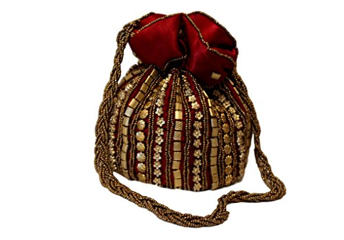 POT - Bolso de mano de seda satinada dorada con cordón para boda india Eid